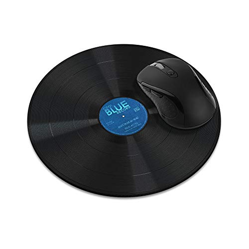 Non-Slip Round Mousepad, WIRESTER Vintage Vinyl Record Blue Mouse Pad for Home, Office and Gaming Desk