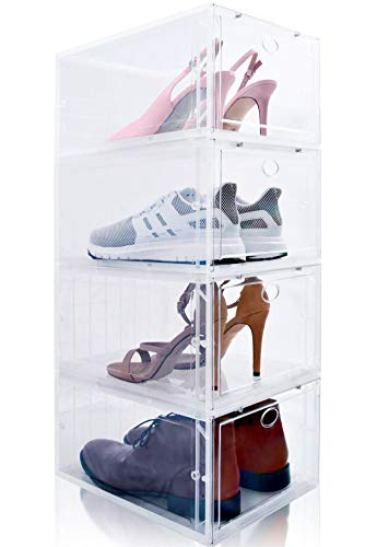 Drop Front Shoe Box, Set of 4, Stackable, for Men and Women - Clear, Plastic Shoes Storage Boxes for Sneaker, Heel, Sandal - space-saving closet organizer Shoe Container for shoe box organization