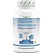 Calcium 800 mg + Magnesium 400 mg (2 Tabletten) - 365 Tabletten - 6 Monatsvorrat - Kalzium + Magnesium-Komplex im 2:1 Verhältnis - Vegan - Laborgeprüft - Hochdosiert