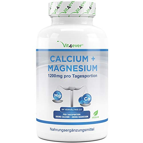 Calcium 800 mg + Magnesium 400 mg (2 Tabletten) - 360 Tabletten - 6 Monatsvorrat - Kalzium + Magnesium-Komplex im 2:1 Verhältnis - Vegan - Laborgeprüft - Hochdosiert