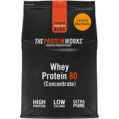 THE PROTEIN WORKS Whey Protein 80 (Concentrate) Powder | 82 Percent Protein | Low Sugar, High Protein Shake | Caramel Macchiato | 2 kg