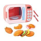 Amagogo Juego de Cocina de Juguete para Microondas, Juego de Simulación para Niños, Ofe Electrónica - Rosa 13pcs
