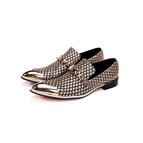 GIYL heren Cowboylaarzen, spitse leren schoenen, stalen neus laarzen, casual leer cowboylaarzen, voor nachtclub schoenen, 40