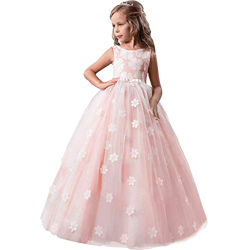 TTYAOVO Girls Pageant Princess Flower Dress Kids Prom Puffy Tulle Ball Gowns Size 12-13 Years Pink