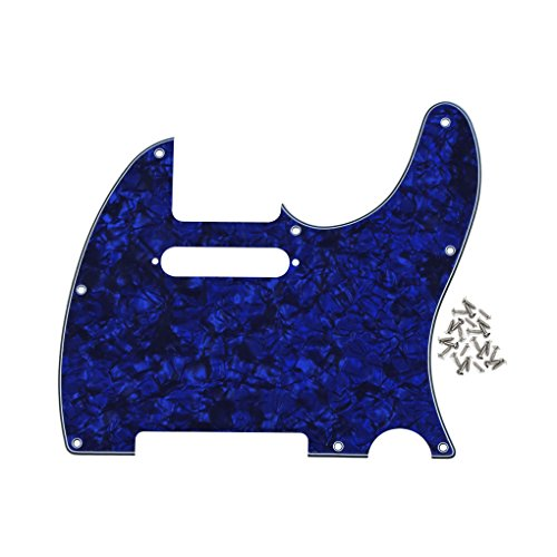 IKN 8 Hole Tele Pickguard Front Scratch Plate with Screws Fit USA/Mexican Fender Standard Telecaster Pickguard Replacement,4Ply Blue Pearl