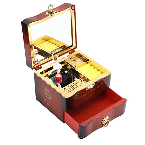 SCCX Caja de música clásica giratoria bailarín reloj manivela caja de música mujer joyería cajas de almacenamiento marrón