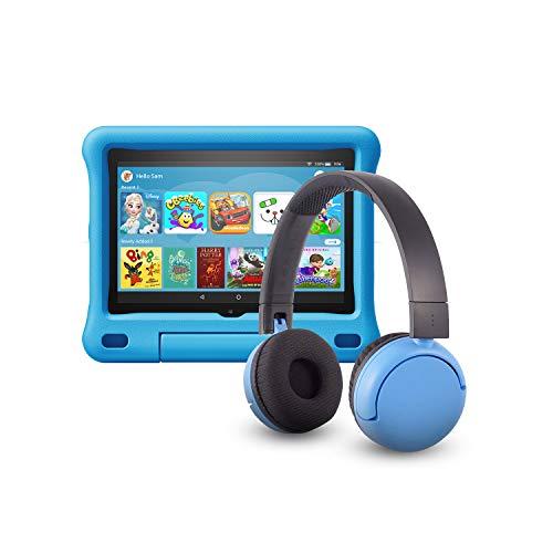 Das neue Fire HD 8 Kids Edition-Tablet (32 GB, blaue kindgerechte Hülle) mit PopTime-Bluetooth-Headset (Altersklasse: 8-15 Jahre)