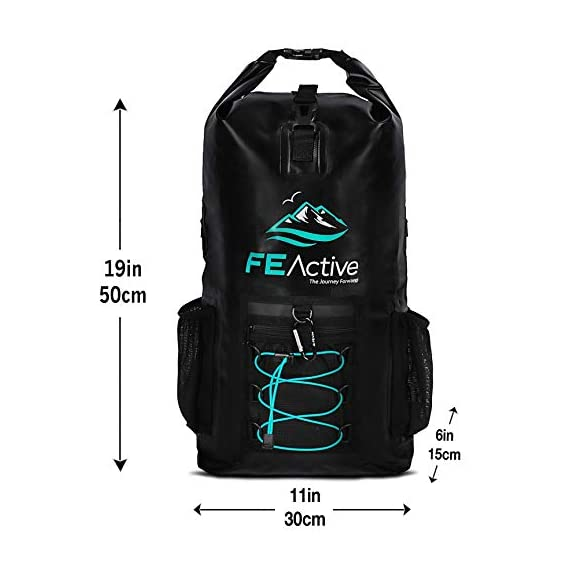 FE Active Dry Bag Waterproof Backpack - 20L Eco Friendly Hiking Backpack. Ideal for Camping Accessories & Fishing Gear… 4 DESIGN: The Huntington is made of environmentally safe PVC tested and certified. Bungee cords to hold tackle box, fly fishing gear, yoga mat, camping supplies and outdoors survival kits. Complimentary carabiner attached to increase utility. Roll top waterproof design makes for great extra large safe storage for gadgets like cell phone, camera equipment, clothes, and money. Chest strap keeps pack securely on while on a motorcycle, bike, sea doo, jet ski, snorkeling, or skateboarding CONSTRUCTION: Dry bag made of thick marine grade 5mm eco friendly Vinyl Tarpaulin with high frequency welded stitching made to withstand extreme outdoor activities. A must have for your emergency kit. Perfect dive bag where conditions are very wet. This 20L dry bag backpack includes padded shoulder straps with mesh lining for better air flow and built-in padded back support for more comfort. Includes exterior zipper mesh pocket to safely hold keys, sun glasses, and other items DIMENSIONS: Enjoy carrying everything you need with this professional waterproof backpack, which has a 20L capacity and measures 25.5 in long and 11.8 in wide. This heavy duty yet light backpack weighs 2 pounds ideal dry bag for your emergency kit. Rain and snow are no match for this dry bag. Used and trusted by our own USA military for its floating capabilities and ability to keep tactical gear dry. Also doubles as a great beach bag to keep your phone, lunch, towel, and accessories dry