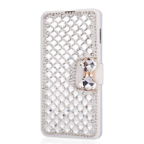 HongHushop 3D Bling Strass Glitter PU Leder Handyhülle für Wiko Harry 2 / Tommy 3 Plus Spiegel Diamant Schnalle Hülle [Kartenslots] [Magnetverschluss] Schutzhülle - Weiß