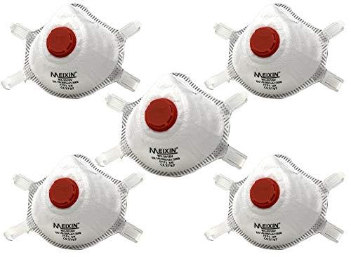 Atemschutzmaske FFP3 NR mit Ventil Feinstaubmaske Staubmaske Maske CE-Zertifiziert (5 Stück)