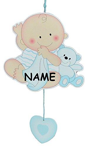 alles-meine.de GmbH Türschild / Wandbild / Deko Hänger -  Baby mit Teddybär  - blau incl. Namen - Holz - selbstklebend - Kinderzimmer Deko Bilder Mädchen zur Geburt Babys Neuge..