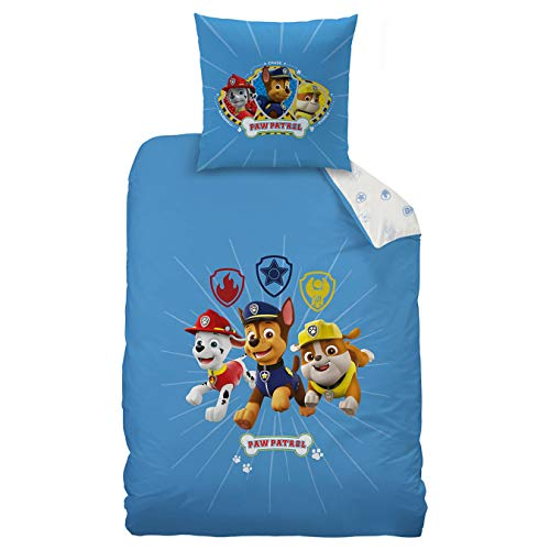 Paw Patrol - Juego de ropa de cama infantil (2 piezas) · Para niños · reversible diseño azul blanco · 1 funda de almohada 80 x 80 + 1 funda nórdica 135 x 200 cm – 100% algodón