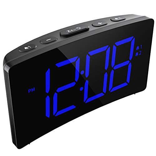 PICTEK Digital Dual Alarm Clock, Easy to Set, 6-Level Brightness Dimmer, Adjustable Volume with 3 Alarm Sound, Clear White Digit, 12/24Hr, Snooze, Led Clock for Bedrooms Desk (No USB Power Adapter)