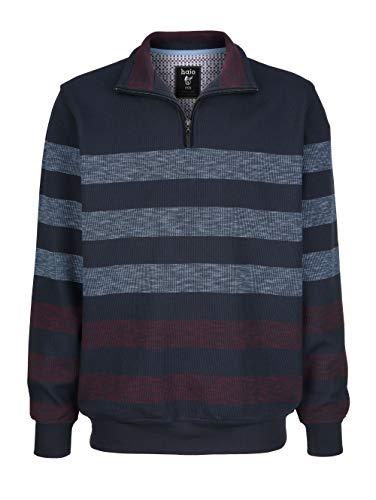 hajo Herren Sweatshirt Langarm Gestreift mit Umlegekragen in Marineblau aus Baumwolle