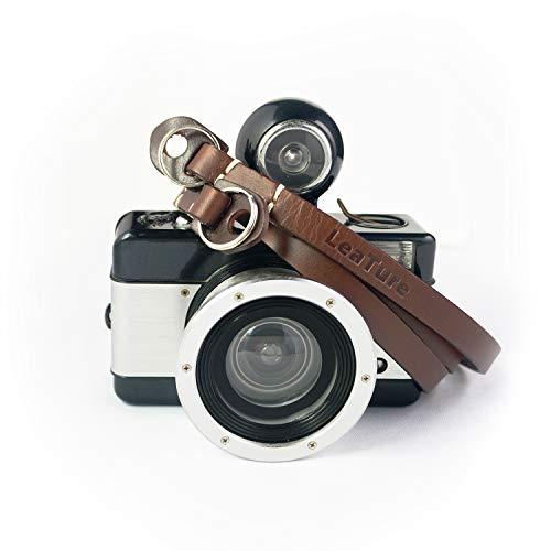 LeaTure カメラストラップ 本革レザー製品 長さ約105cm Sony、Nikon、Canonなどブランドのカメラに適しています(褐色)