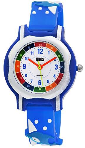 QBOS Kinder-Uhr Silikon Delfin Lernuhr Analog Quarz 4500024