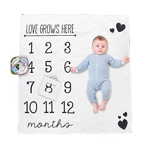 'Liebe wächst\' Baby Monatsbild Decke, Baby-Monats Milestone Decke Neugeborene Jungen-Mädchen Unisex Neutral, Baby-Wachstum Fotografie Hintergrund Prop