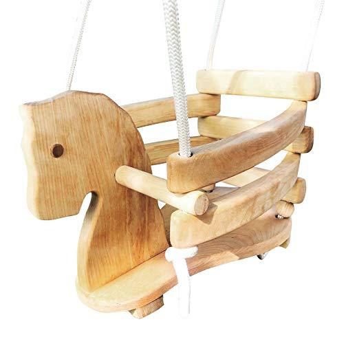 Babyschaukel aus Holz, 40 x 30 x 28,5cm, ab 6 Monate, pferd, Nachhaltig, montessori, schaukel, Spielzeugpferd, massivholz, Schaukeltier mit Seil natürlich
