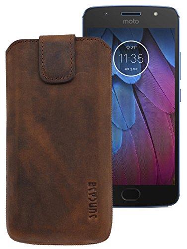Suncase ECHT Ledertasche Leder Etui für Motorola Moto G5S PLUS Tasche (mit Rückzugsfunktion) in antik-coffee
