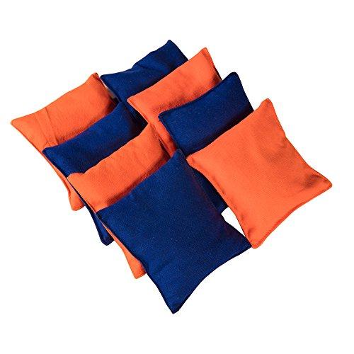 Sports Festival® Premium wetterfeste Canvas-Regulierung Kornlochbeutel Sterne und Streifen (Set von 8 Stück) Kornloch-Sitzsack-Set für Kernwurfspiel, Orange & Blue
