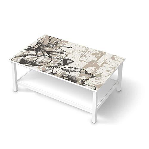 Wandtattoo Möbel passend für IKEA Hemnes Couchtisch 118x75 cm I Möbelaufkleber - Möbel-Tattoo Sticker Aufkleber I Wohnen und Dekorieren für Wohnzimmer und Schlafzimmer - Design: Styleful Vintage 1