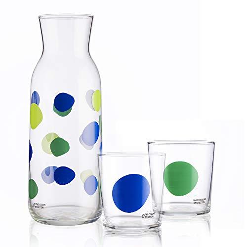 UNITED COLORS OF BENETTON. BE065 Set 3 Piezas: Jarra de Vidrio 108 2 Vasos 35 cl, Cristal, Puntos
