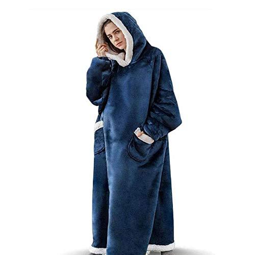 Sudadera larga con capucha, sudadera de gran tamaño, suave con bolsillos profundos, mangas para adultos, niños y adolescentes
