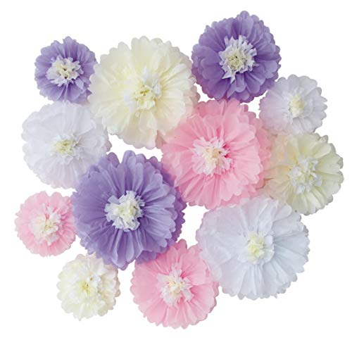 Lavender Pink White Tissue Paper Flower for Neutral Girl Baby Shower Party Birthday Baby Girl Room Nursery Decoration Pack of 12