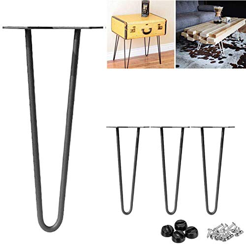 "16"" Hairpin Table Legs 40cm Black Steel 2-Rod Metal Modern Industrial Mid Century Style for DIY Furniture Coffee Table Desk Cabinets with Protector Feet & Screws (Pack of 4)"