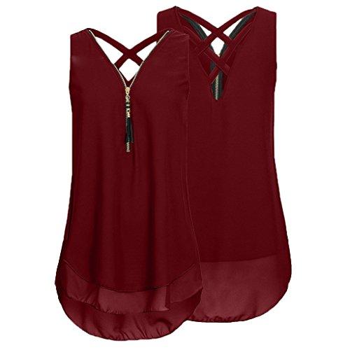Womens Plus Size Layed Zipper V Neck Backless Chiffon Blouse Loose Sleeveless Cross Back Tank Tops chaofanjiancai (XL, Wine)