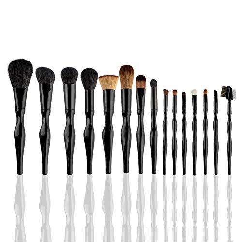 Sets de brochas para maquillaje 15 piezas de maquillaje cepillo conjunto cepillo conjunto de maquillaje de pelo sintético herramienta de maquillaje portátil belleza cepillo de maquillaje cepillo negro