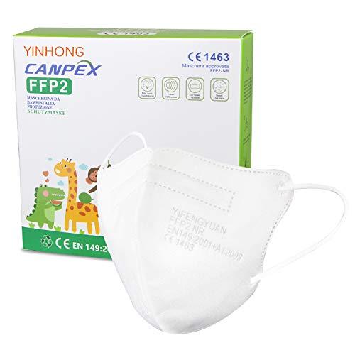 10x Weiße Mini FFP2 Masken in Kleiner Größe, CE Zertifiziert und einzeln verpackt, mit weichen Ohrschlaufen und Nasenbügel