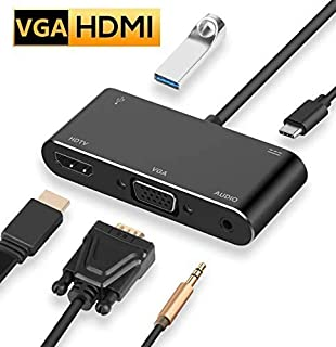 USB C ハブ HDMI VGA 変換アダプター 5in1 USB type C ハブ 4k HDMI VGA USB3.0 PD充電ポート 3.5mmオーディオ UHD コンバーター MacBook Pro/MacBook Air 2018/2019 iPad Pro 2018/2019/Samsung Galaxy Note10/Surface Go/USB C デバイス対応