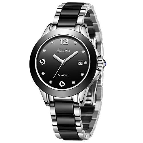LIGE Damen Armbanduhr Frauen Mode Elegant Wasserdicht Analoger Quarz Uhr Weiblich Schwarz Keramik Business Uhren Zifferblatt Einfach Luxus Casual Kleid Kalendar Damenuhr
