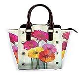 BROWCIN Daisy Posy Of Spring Flowers Estilo de pintura al óleo Impresionista Still Life Art Theme Desmontable Moda Tendencia Bolso de las señoras Bolso de hombro