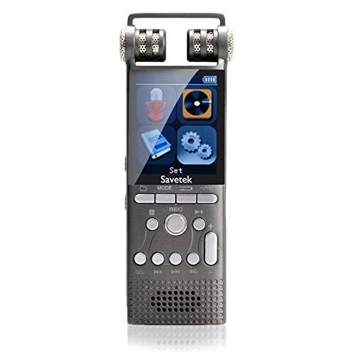 Grabadora de Voz de Audio Digital activada por Voz Profesional 8GB 16GB USB Pen Non-Stop 100hR Grabación PCM 1536KBPS HiFi MP3 Player (Capacity : 16GB)