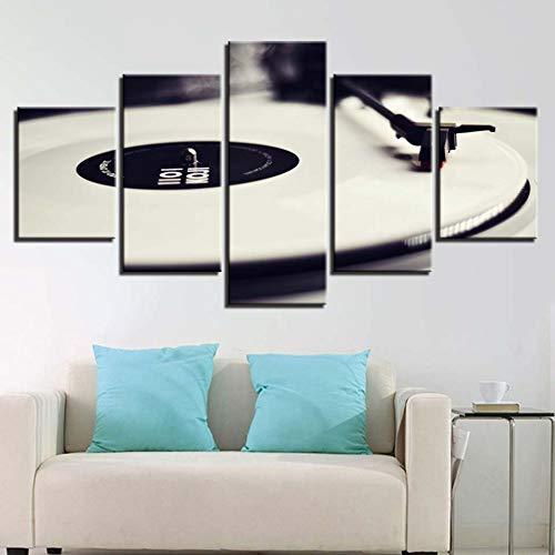 WHFDH canvas muurkunst foto's frame wooncultuur 5 stuks phonograaf schilderij Hd afdrukken wit muziekconsole platenspeler poster 10×15 10×20 10×25cm