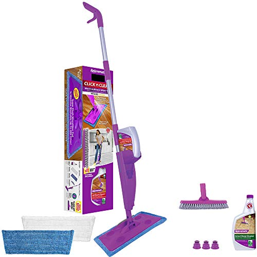 Rejuvenate Click N Clean Multi-Surface Spray Mop System Bundle Includes Free Click-On Grout Brush Two Reusable Microfiber Pads one 32oz No-Bucket Floor Cleaner and one 32oz Grout Deep Cleaner