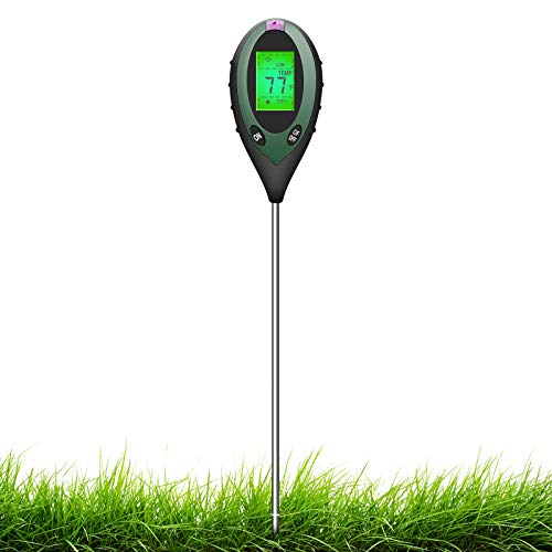 Sonkir Boden-pH-Meter, 4-in-1-Bodenfeuchtigkeits-/Licht-/pH-/Temperaturprüfer Garten-Werkzeugsätze für die Pflanzenpflege, idealer Bodenmesser für Garten, Rasen, Bauernhof, Batterie Enthalten (grün)