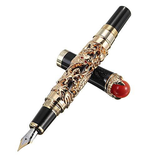 Penna stilografica Jinhao Dragon King Fine pennino Vintage Design e gioielli rossi
