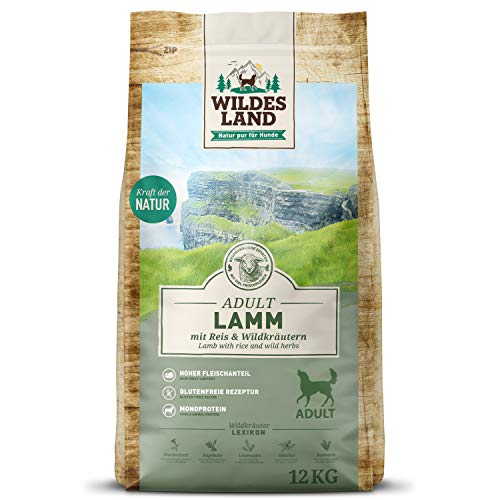 Wildes Land | Nr. 1 Lamm | 12 kg | mit Reis und Wildkräutern | Glutenfrei & Hypoallergen | Trockenfutter für Hunde | Hundefutter mit hohem Fleischanteil | Für alle Hunderassen | Hohe Verträglichkeit