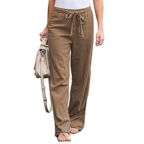 Everrwant Women's Drawstring Elastic Waist Pants Summer Wide Leg Pants Casual Golf Pants with Waistband Khaki