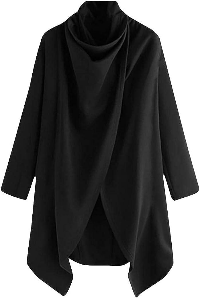 Men's Solid Trend Cape Jacket Street Style High Collar Long Sleeve Fashion Casual Punk Irregular Hip Hop Windbreaker