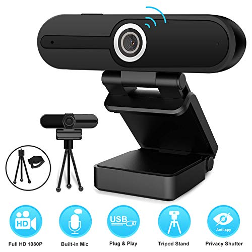 1080P Webcam with Tripod and Privacy Cover Web Cam USB Camera 90Degree Extended View Computer HD Streaming Webcam for PC Desktop amp Laptop w/Mic Wide Angle Lens for Superior Low Light
