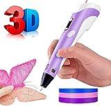 STEELMATES Penna 3D Bambini, Stampa 3D Pen Professionale Adulti con Schermo LCD, Filamento a Colori in Regalo, Metal Pen Compatibile PLA e ABS con Controllo Temperatura e velocità (Viola)