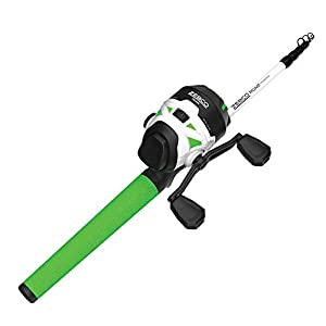 "Quantum Zebco Roam Telescopic Fishing Rod and Spincast Reel Combo, 6'0"" Medium-Heavy Durable Fiberglass Rod, ComfortGrip Handle, Stainless Steel Reel Body, Pre-spooled with 10-Pound Cajun Line, Green"