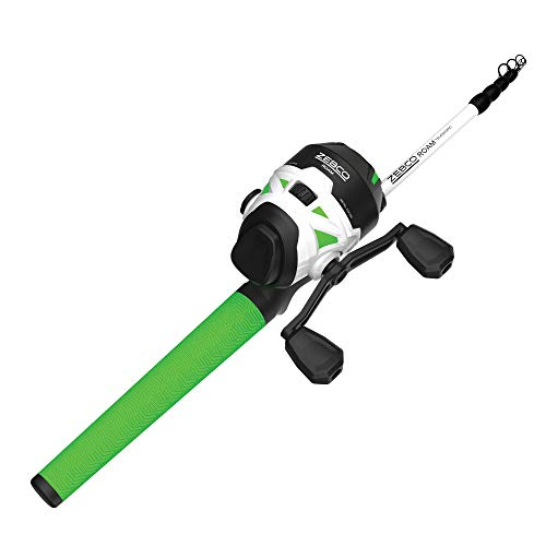 Quantum Zebco Roam Telescopic Fishing Rod and Spincast Reel Combo, 6'0' Medium-Heavy Durable Fiberglass Rod, ComfortGrip Handle, Stainless Steel Reel Body, Pre-spooled with 10-Pound Cajun Line, Green