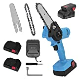 Mini Chainsaw Cordless Upgrade , Loggers Art Gens Electric Chain saw, 4-Inch One-Hand Operated Portable Wood Saw for Tree Trimming and Branch Wood Cutting- Blue( 2 Battery )