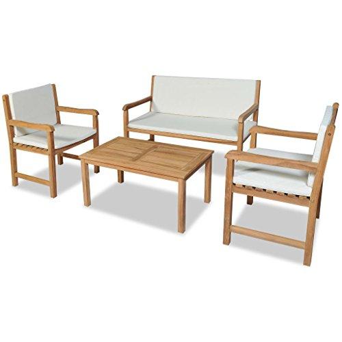 vidaXL Madera Teca Maciza Sofás de Jardín 4 pzas Asientos Muebles de Exterior