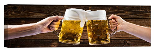 LuxHomeDecor Cuadro de cerveza Pub cocina restaurante bar 100 x 30 cm impresión sobre lienzo con marco de madera decoración arte moderno